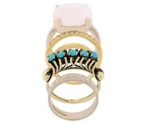 Vergoldete 'Elegua' Set aus vier Ringen