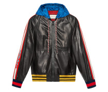 stripe leather bomber with hood