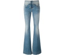 lace-up vintage effect flare jeans