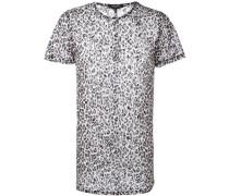 Netz-T-Shirt mit Leopardenmuster