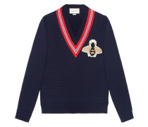 Wool sweater with bee appliqué - Unavailable