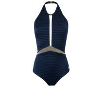 Zweifarbiger Badeanzug mit Reißverschluss