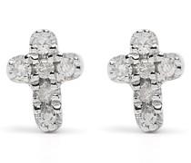 18kt Cross Weißgoldohrringe mit Diamanten