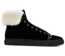 shearling lined mid-top sneakers