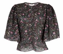 Geraffte Bluse mit Blumen-Print