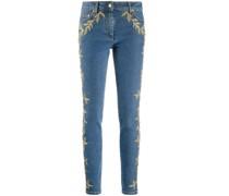 Skinny-Jeans mit Brokat-Detail