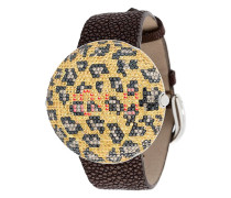 Armbanduhr mit Leoparden-Print
