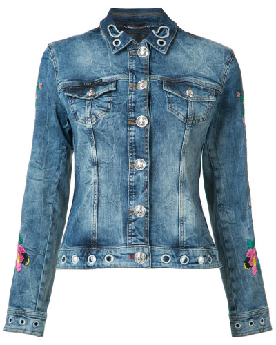 - floral embroidered denim jacket - women