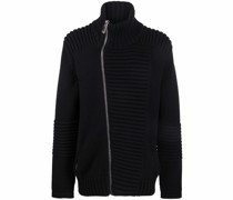 ribbed zip-up knitted jacket