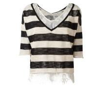 Gestreifter Pullover mit Spitzenunterhemd