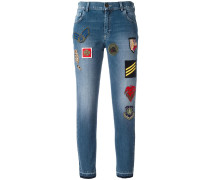 Cropped-Jeans mit Patches - women