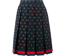 Rose fil coupé pleated skirt