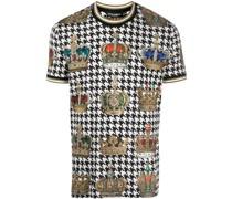 T-Shirt mit Hahnentrittmuster