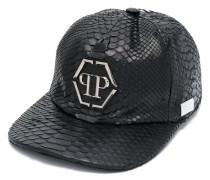 Pythonleder-Baseballkappe mit Logo-Applikation