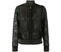- lace panel bomber jacket - women
