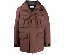 Compass-patch padded hooded jacket