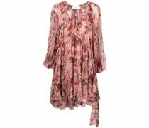 ruffle-detail floral print dress
