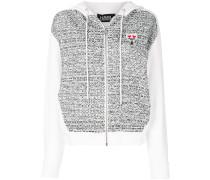 bouclé panel zip hoodie