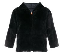 cropped sleeve textured jacket