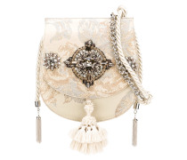 Jacquard-Schultertasche mit Kristallen