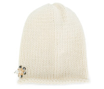 embellished knitted hat
