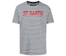 Gestreiftes T-Shirt mit Logo-Stickerei