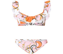 printed ruffle bikini