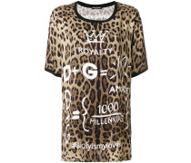 leopard print T-shirt with printed details