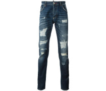 istressed straight-leg jeans