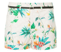 tropical-print belted shorts