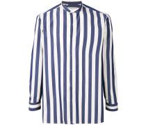 mandarin neck striped shirt