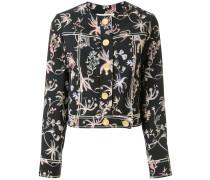 Cropped-Jeansjacke mit Blumen-Print