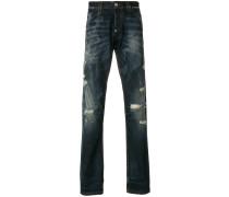 Gerade Distressed-Jeans mit Print