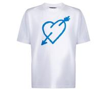 T-Shirt mit Pfeilherz-Print