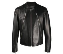mock neck leather jacket
