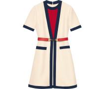 Belted wool silk dress