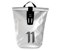 Metallisch glänzender Rucksack mit Umschlagklappe