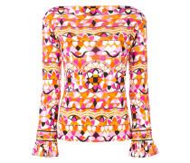 ruffled-cuff printed blouse