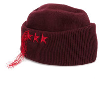 star embroidered fringed hat
