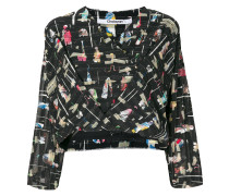 graphic wrapped front blouse