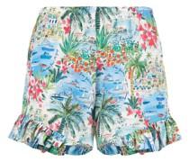 scenic-print silk shorts