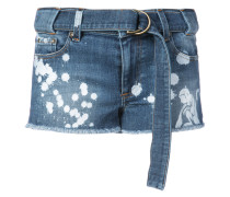 paint splatter denim shorts