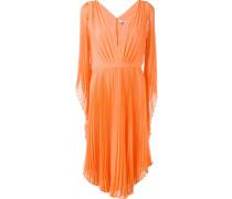 Plissiertes Kleid mit V-Ausschnitt
