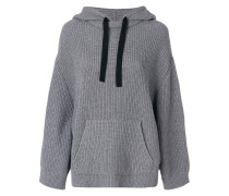 ribbed knit hoodie