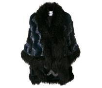 oversized embellished fur cape