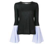 Pullover mit ausgestellten Kontrastärmeln