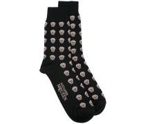 Intarsien-Socken mit Totenköpfen - men