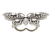 crystal-embellished butterlfy double finger ring
