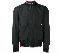 four pocket bomber jacket with ribbed collar