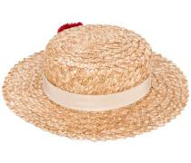 Brigette pom-pom boater hat - women